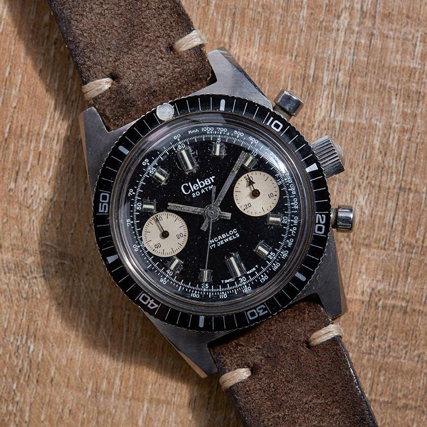 clebar-chronodiver-chronograph-watch-vintage-black-dial-distressed-leather-strap-band-brown.
