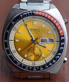 "Seiko_Automatic-Chronograph_Cal._6139_mit_gelbem_Zifferblatt,_die_sogenannte_""Pogue_Seiko""."