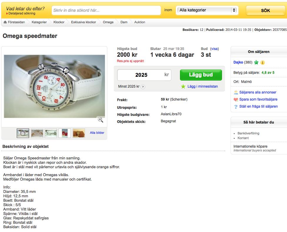 använda omega klockor
